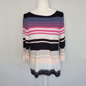 Talbots multicolor striped top women's size Large